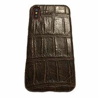 Коричневый чехол для iPhone X 10 из кожи крокодила брюшко