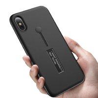 Пластиковый чехол для iPhone X 10 черный с подставкой и держателем для пальца