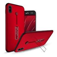 Пластиковый чехол для iPhone X 10 красный с подставкой и держателем для пальца
