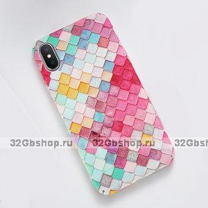 Пластиковый чехол для iPhone X 10 3D кожа змеи покрытие Soft Touch