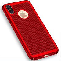 Пластиковый чехол для iPhone X 10 красный с перфорацией - Soft Touch Plastic Case