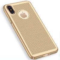 Пластиковый чехол для iPhone X 10 золотистый с перфорацией - Soft Touch Plastic Case