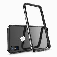 Черный металлический бампер для iPhone X 10 с силиконовой подкладкой - G-Case Grand Series Black