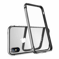Серебристый металлический бампер для iPhone X 10 с силиконовой подкладкой - G-Case Grand Series Silver