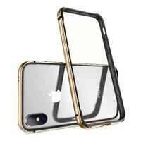 Золотой металлический бампер для iPhone X 10 с силиконовой подкладкой - G-Case Grand Series Gold