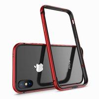 Красный металлический бампер для iPhone X 10 с силиконовой подкладкой - G-Case Grand Series Red