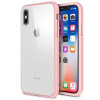 Прозрачный пластиковый чехол с розовым силиконовым бампером для iPhone X / Xs 10