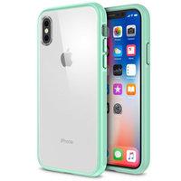 Прозрачный пластиковый чехол для iPhone X 10 с зеленым силиконовым бампером