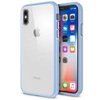 Прозрачный пластиковый чехол для iPhone X 10 с голубым силиконовым бампером