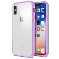 Прозрачный пластиковый чехол для iPhone X 10 с фиолетовым силиконовым бампером