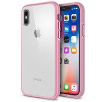 Прозрачный пластиковый чехол-бампер для iPhone X 10 с ярко-розовым силиконовым бампером