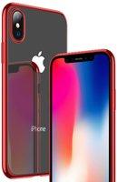 Прозрачный силиконовый чехол для iPhone X 10 с красным бампером