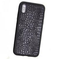 Черный силиконовый чехол с кожаной вставкой для iPhone X / Xs 10 фактура кожи крокодила