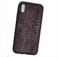 Черный силиконовый чехол с коричневой кожаной вставкой для iPhone X / Xs 10 фактура кожи крокодила