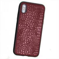 Силиконовый чехол с красной кожаной вставкой для iPhone X / Xs 10 фактура кожи крокодила