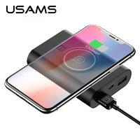 Черный внешний аккумулятор беспроводное зарядное устройство для iPhone X - USAMS Powerbank Wireless Charger & Dual USB Black 8000mAh 5V-1A