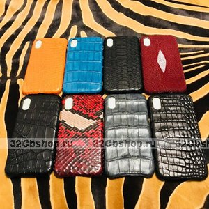 Чехол для iPhone X / Xs 10 ручной работы из натуральной экзотической кожи крокодила, питона, ската