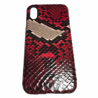 Красный чехол из кожи питона для iPhone X 10
