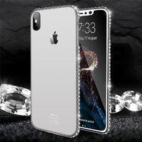 Прозрачный силиконовый чехол для iPhone X 10 серебряный бампер со стразами