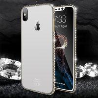 Прозрачный силиконовый чехол для iPhone X 10 золотой бампер со стразами