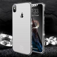 Прозрачный силиконовый чехол со стразами для iPhone X 10 черный бампер