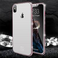 Прозрачный силиконовый чехол со стразами для iPhone X 10 бампер розовое золото