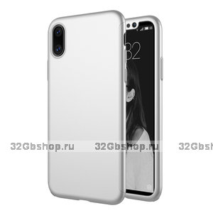 Серебристый защитный пластиковый двухсторонний 3D чехол для iPhone X 10 с защитным стеклом