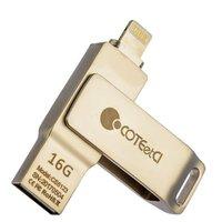 Серебристый флеш-накопитель 16 Gb с разъемом Lightning - COTEetCI U2 Civilian Version iUSB для iOS / Mac / PC