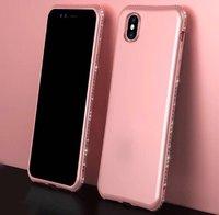 Силиконовый чехол со стразами для iPhone X 10 розовый