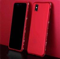 Силиконовый чехол со стразами для iPhone X 10 красный