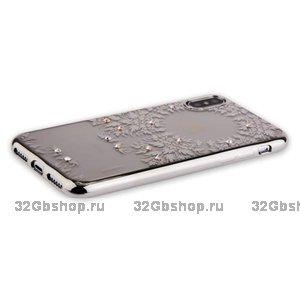 Силиконовая накладка для iPhone X / Xs 10 чехол со стразами серебряный узор - Beckberg Monsoon Series Silver Ornament