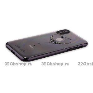 Пластиковый чехол со стразами сердце для iPhone X 10 черный - KINGXBAR The One Black