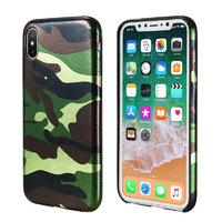 Зеленый силиконовый чехол для iPhone X камуфляж
