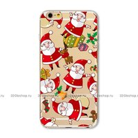 Прозрачный силиконовый чехол для iPhone 7 / 8 с рисунком Дед Мороз