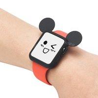 Черный силиконовый чехол Микки Маус - Mickey Mouse для Apple Watch 42mm series 1 - 2