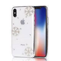 Прозрачный пластиковый чехол для iPhone X 10 cтразы снежинки