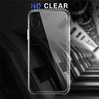 Прозрачный силиконовый чехол для iPhone X 10 один ряд боковых страз