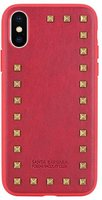Красный кожаный чехол накладка для iPhone X с заклепками - Santa Barbara Polo&Racquet Club Debonair Series Red