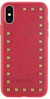 Красный кожаный чехол накладка для iPhone X / Xs с заклепками - Santa Barbara Polo&Racquet Club Debonair Series Red