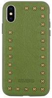 Зеленый кожаный чехол для iPhone X / Xs накладка с заклепками - Santa Barbara Polo&Racquet Club Debonair Series Green