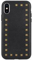 Черный кожаный чехол для iPhone X / Xs с заклепками - Santa Barbara Polo&Racquet Club Debonair Series Black