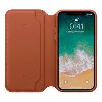 Коричневый кожаный чехол книжка для Apple iPhone X / Xs 10 - Leather Folio Case Brown