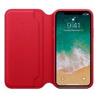 Красный кожаный чехол книжка для Apple iPhone X / Xs 10 - Leather Folio Case Red