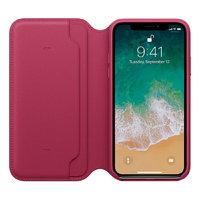 Малиновый кожаный чехол книжка для Apple iPhone X 10 - Leather Folio Case Crimson