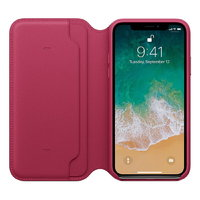 Малиновый кожаный чехол книжка для Apple iPhone X / Xs 10 - Leather Folio Case Crimson