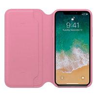Розовый кожаный чехол книжка для Apple iPhone X 10 - Leather Folio Case Pink
