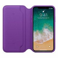 Фиолетовый кожаный чехол книжка для Apple iPhone X / Xs 10 - Leather Folio Case Purple