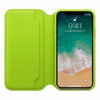 Зеленый кожаный чехол книжка для Apple iPhone X 10 - Leather Folio Case Green