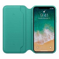 Бирюзовый кожаный чехол книжка для Apple iPhone X 10 - Leather Folio Case Blue Green