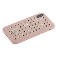 Розовый кожаный чехол для iPhone X с заклепками - Santa Barbara Polo&Racquet Club Maverick Series Pink